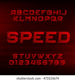 Speed alphabet font. Oblique dynamic red letters and numbers on a dark background. Vector typeface for your design.