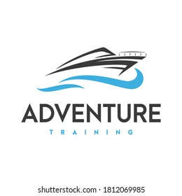 speed boat and adventure logo  icon and illustration