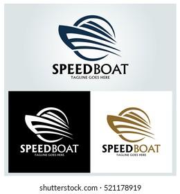 Speed boat logo design template ,Sea boat logo design concept ,Vector illustration