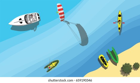 Speed boat with parachute and fishing boats near beach