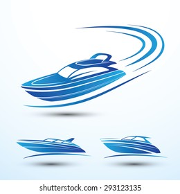 Speed boat symbol set vector.illustration