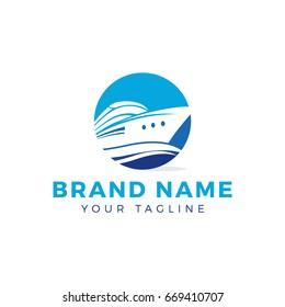 Speed boat vector logo design. Yacht logo.