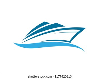 speed boat with waves, the yacht or sailing logo design