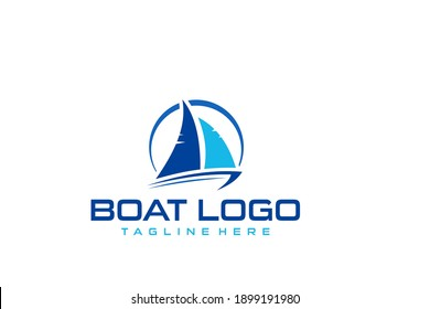 Speed boat with waves,the yacht or sailing logo design