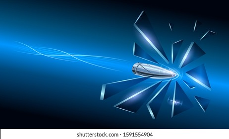 the speed of a bullet breaks the glass into fragments, close up. Realistic flying bullets with smoke trace lines on blue background. vector illustration stock.