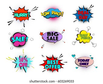 Speed comic pop art sale clouds. Vector elements bright colorful tags sale, special offer, hurry, best offer, low price collection. Emotion icons