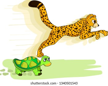 Speed competition between fast cheetah and slow turtle on white background.