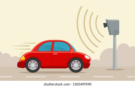 Speed control camera. Car speed monitoring radar on highway. Urban transport. Vector illustration, flat design, cartoon style. Isolated background. Side view.