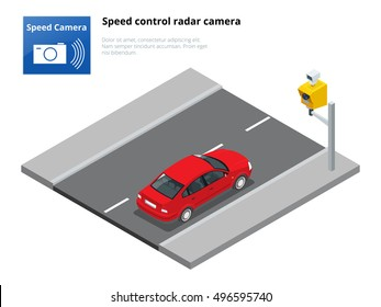 A speed control radar camera. Red sedan car. Urban transport. Can be used for advertisement, infographics, game or mobile apps icon.