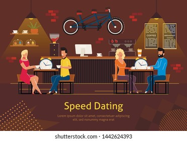 Speed Dating Flat Vector Banner, Poster Template with Couples Sitting at Table in Restaurant, Cafe or Coffee shop Interior, Talking While Drinking Cup of Tea, Trying to Make Relationship Illustration
