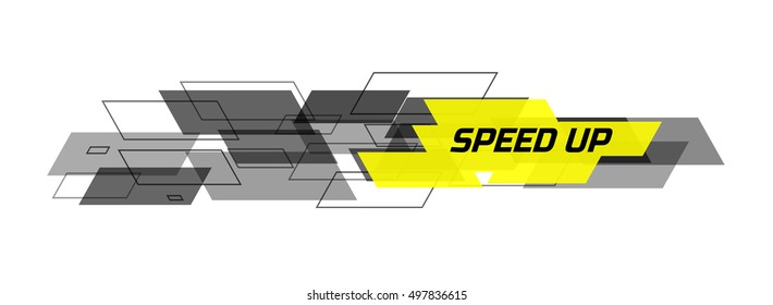 Speed design concept consists of filled and contoured rectangles. Black and yellow on white background. Design for banner, web. Vector illustration.
