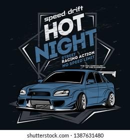 speed drift hot night, car vector illustration