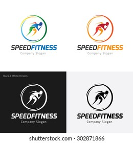 Speed fitness, Running logo template