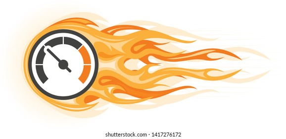 Speed - flaming speedometer in motion, quick movement