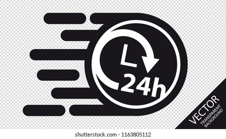 Speed Flat Icon Delivery 24h Service Concept - Vector Illustration - Isolated On Transparent Background