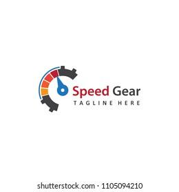 speed gear logo template design vector