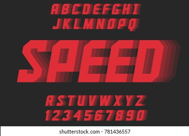Speed geometric decorative font Modern design letters and numbers Vector abc