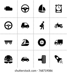 Speed icons. vector collection filled speed icons. includes symbols such as trailer, rocket, car, tire, steering wheel, gearbox, clock. use for web, mobile and ui design.