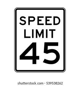 Speed limit 45 traffic light on white background