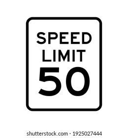 Speed limit 50 vector sign design. Isolated road traffic symbol.
