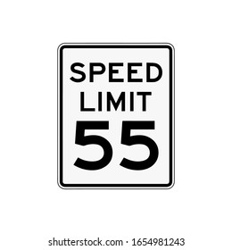 Speed limit 55 sign. Icon isolated on white background. Road traffic signs concept