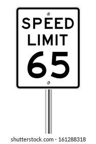 Speed limit 65 traffic light on white