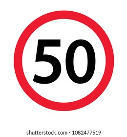 Speed limit fifty circle vector sign
