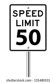 Speed limit sign on white