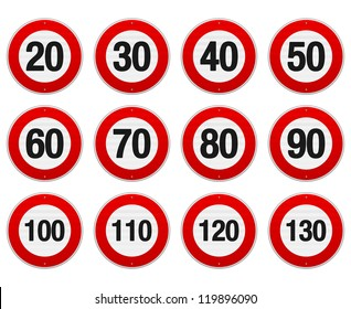 Speed Limit Sign Set - Isolated illustration of circle speed limit signs with red border