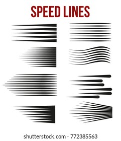 Speed lines black for Manga and Comic   vector elements on white background. Vector Illustration