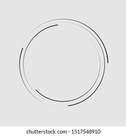 Speed lines in circle form, halftone effect, spiral round logo, design element, concentric circle elements backgrounds, abstract geometric shape, striped border frame - stock vector