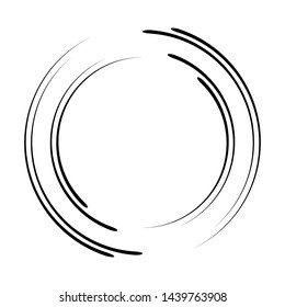Speed Lines in Circle Form . Spiral Vector Illustration .Technology round Logo . Design element . Abstract Geometric shape . Striped border frame