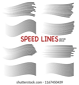 Speed lines isolated set. Motion effect for your design. Black lines on white background. Vector illustration  EPS10