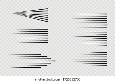 Speed lines isolated. Set of motion signs.