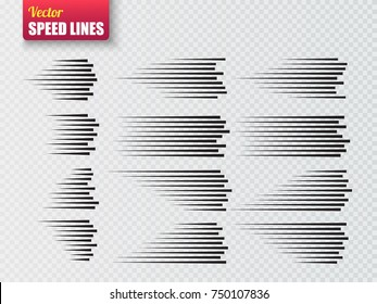 Speed lines isolated. Set of motion signs. Vector illustration.