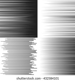 Speed lines. Set of vector illustrations. Linear pattern of varying intensity. Black elements for comics design. Horizontal lines of varying thickness. Motion rays.