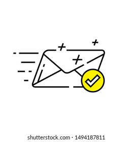 Speed mail icon. Fast email delivery symbol. Quick postal service graphic. Sent message sign. Vector illustration line icon.