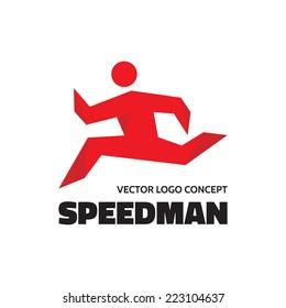 Speed man - vector logo template concept illustration. Running motion. Human character sign. Sport fitness symbol. Design element.