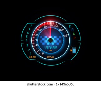 Speed meter motion background with fast speedometer car. Racing and velocity background.