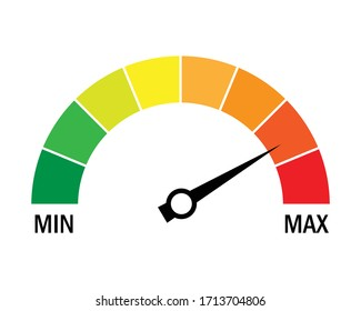 Speed metering icon isolated on white background. vector illustration modern flat design. Minimum and maximum measuring dial. Colorful infographic gauge sign. car performance measurement symbol.