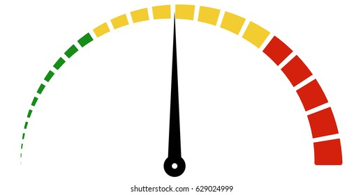 Speed metering icon scale meter broken into sectors, vector thermometer