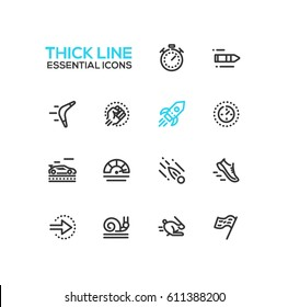 Speed - modern vector single thick line icons set. Timer, bullet, boomerang, fist, rocket, meter, car, sneaker, arrow, snail, rabbit, flag