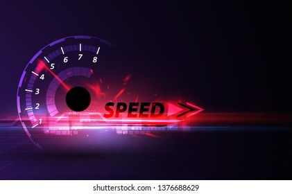 Speed motion background with fast speedometer car. Racing velocity background.