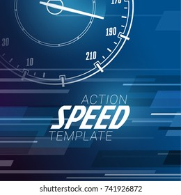 Speed motion background with fast speedometer car. Racing velocity background. Banner template.