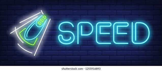 Speed neon sign. Glowing inscription with blue and green bobsleigh on brick wall background. Vector illustration can be used for sport, competition, bobsleigh