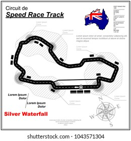 Speed race circuit map with sample text isolated on white background