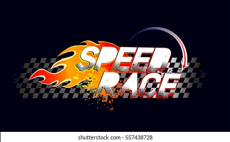 d449c43e0 Speed race logo on taxi flag squares and fire silhouette. T shirt design  for boys