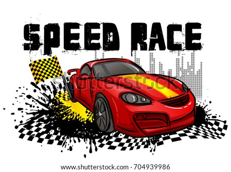 Speed Race Poster Red Sport Car Stock Vector Royalty Free