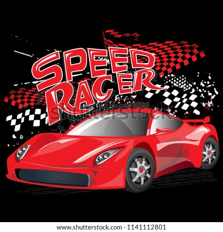 Speed Racer Poster Red Sport Car Stock Vector Royalty Free