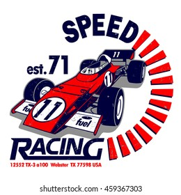 Speed Racing vector T-shirt design.